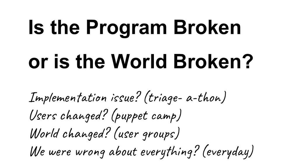 Is the Program Broken or is the World Broken? I...