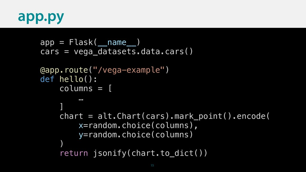15 app = Flask(__name__) cars = vega_datasets.d...