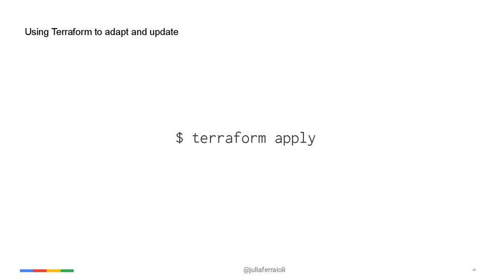 @juliaferraioli ‹#› Using Terraform to adapt an...