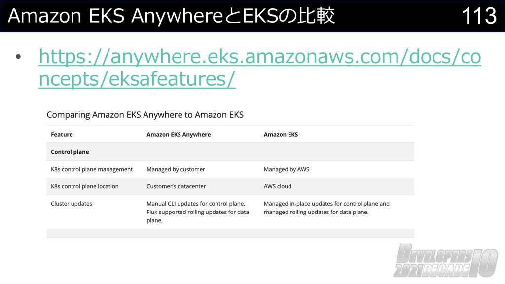 113 Amazon EKS AnywhereとEKSの⽐較 • https://anywhe...