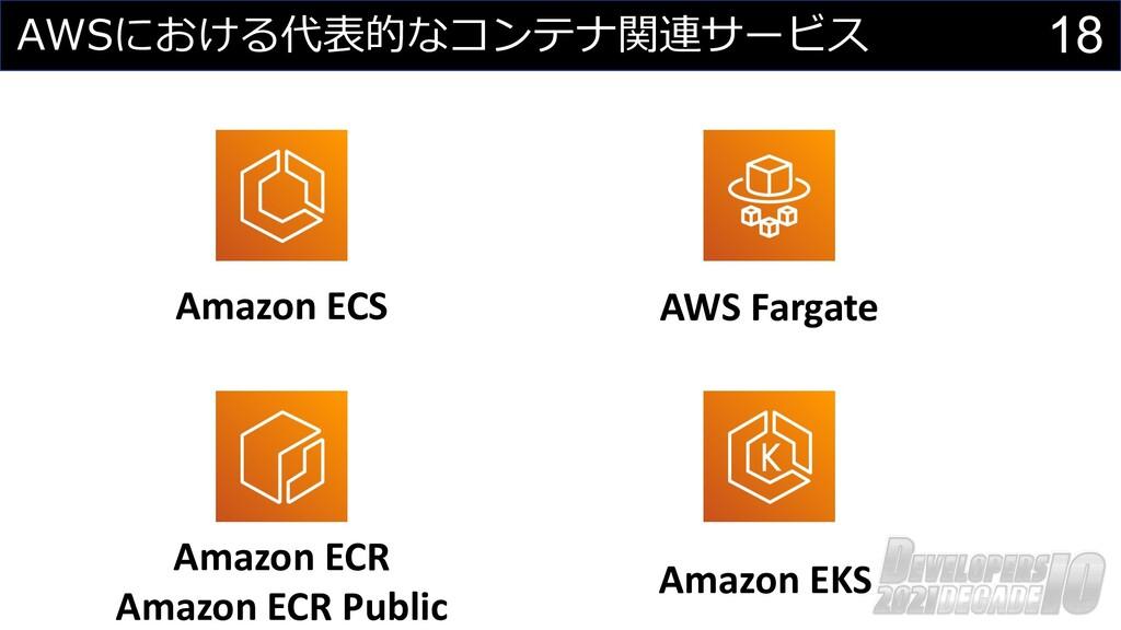 18 AWSにおける代表的なコンテナ関連サービス Amazon ECS Amazon ECR ...