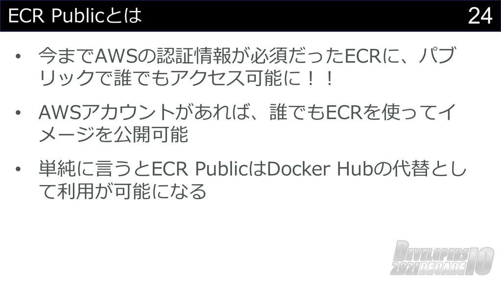 24 ECR Publicとは • 今までAWSの認証情報が必須だったECRに、パブ リックで...