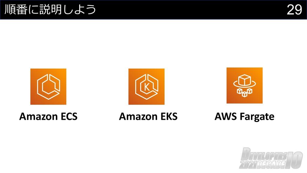 29 順番に説明しよう Amazon ECS AWS Fargate Amazon EKS