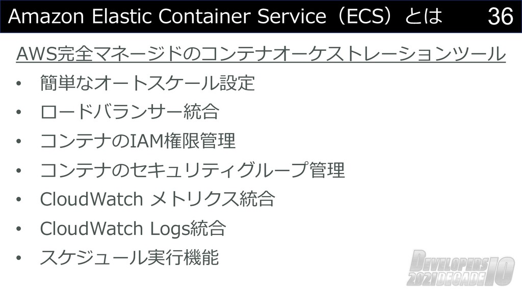 36 Amazon Elastic Container Service(ECS)とは AWS完...