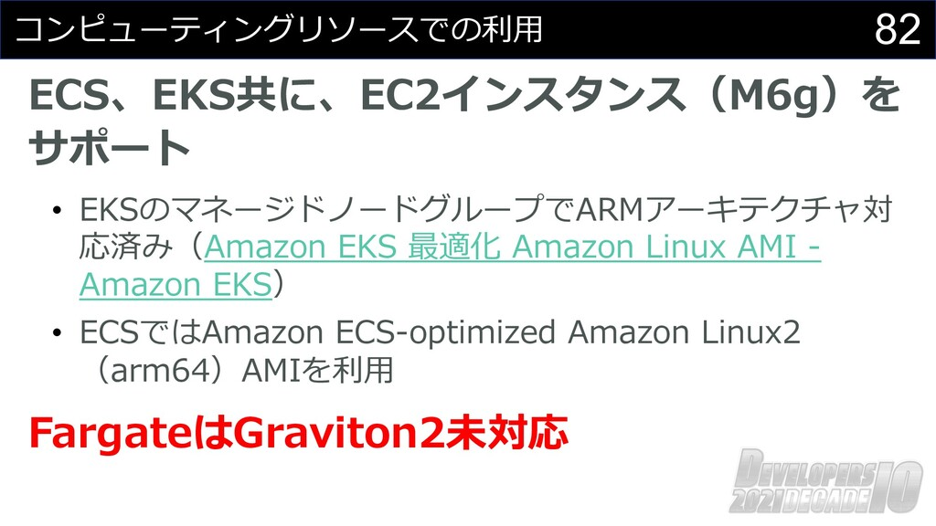 82 コンピューティングリソースでの利⽤ ECS、EKS共に、EC2インスタンス(M6g)を ...