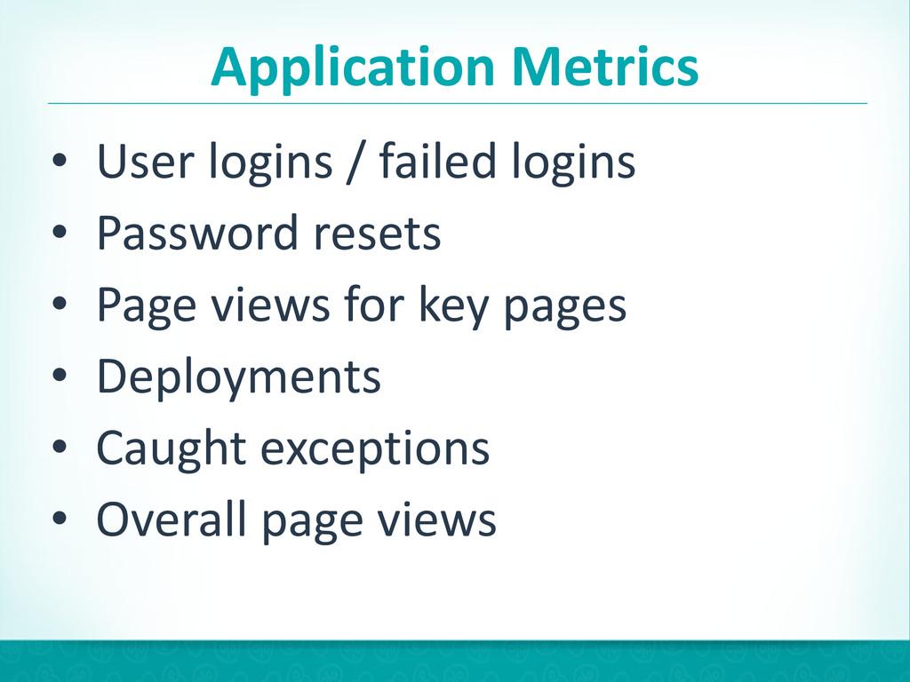 Application Metrics • User logins / ...