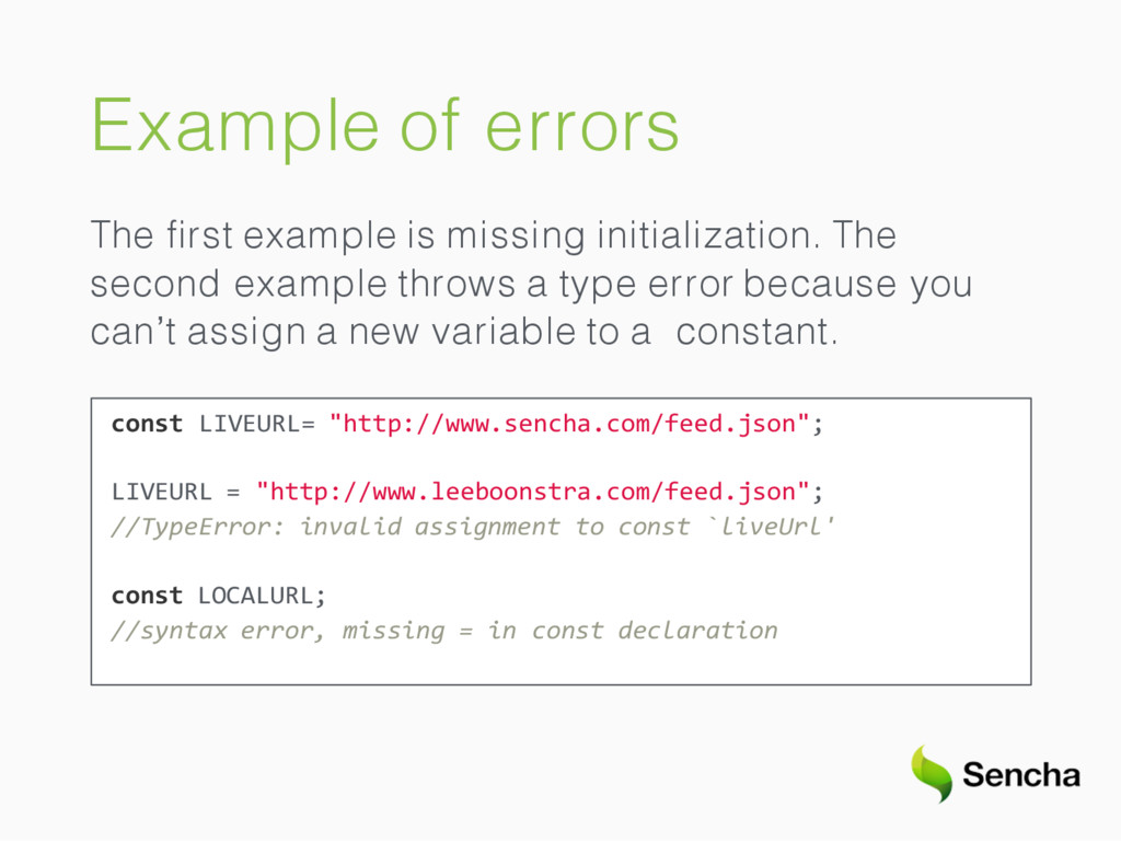 Example of errors The first example is missing i...