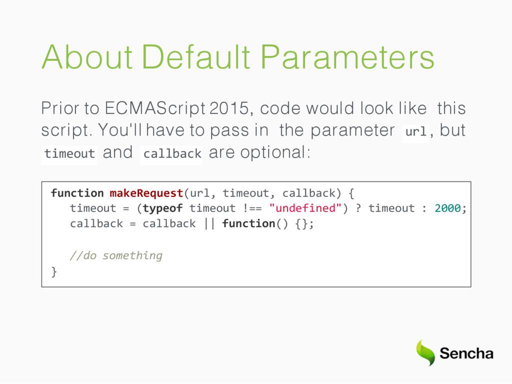 About Default Parameters Prior to ECMAScript 20...