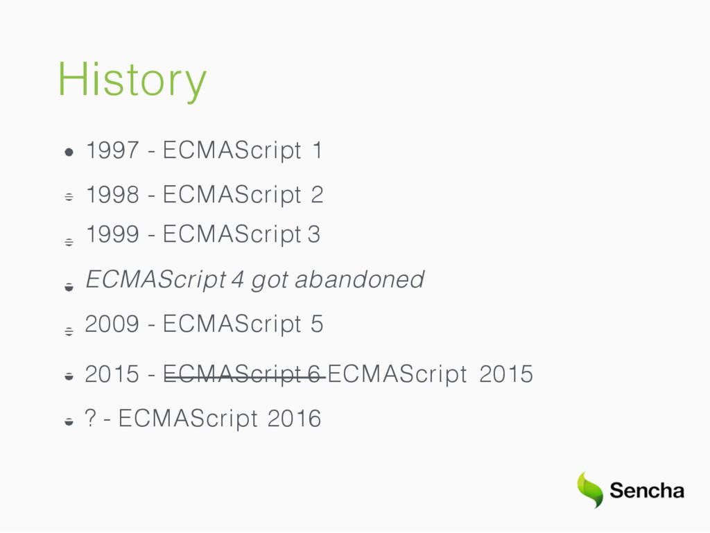 History 1997 - ECMAScript 1 1998 - ECMAScript 2...