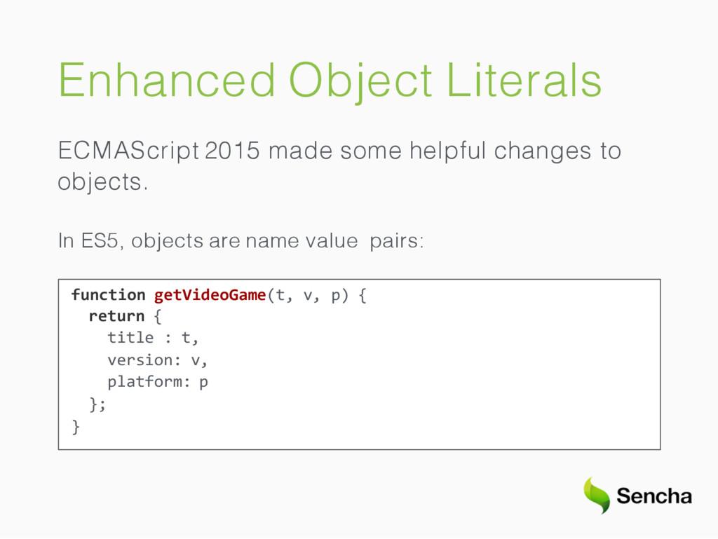 Enhanced Object Literals ECMAScript 2015 made s...