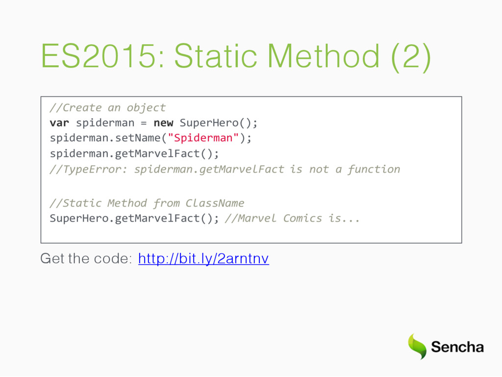 ES2015: Static Method (2) //Create an object va...