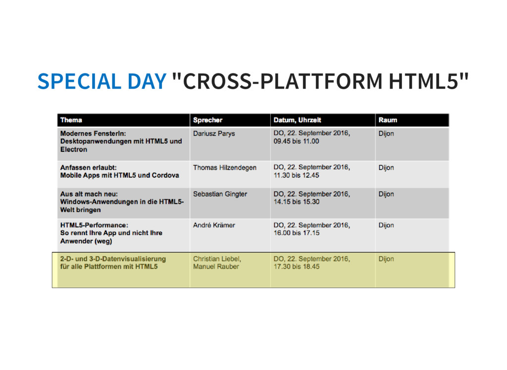 "SPECIAL DAY ""CROSS-PLATTFORM HTML5"""