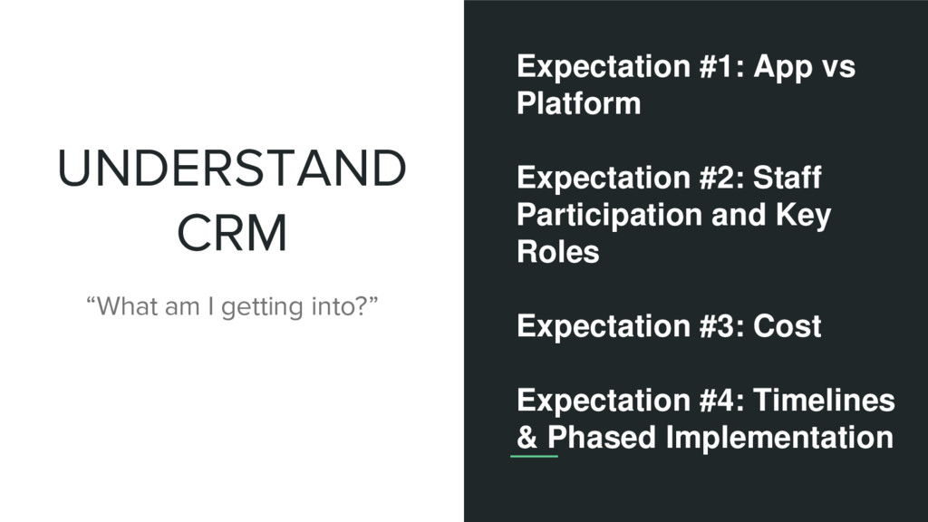 """UNDERSTAND CRM """"What am I getting into?"""" Expect..."""
