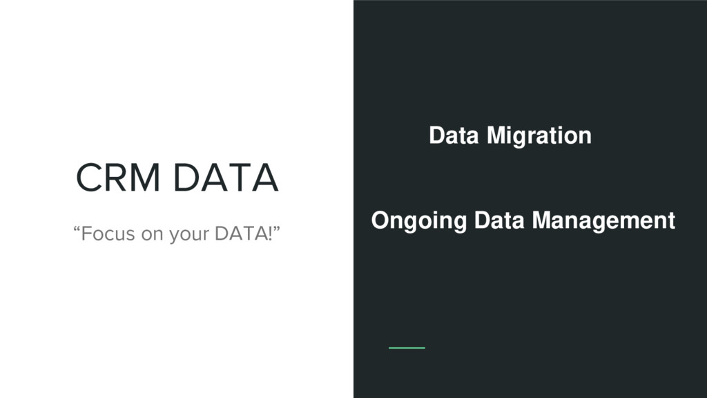 """CRM DATA """"Focus on your DATA!"""" Data Migration O..."""