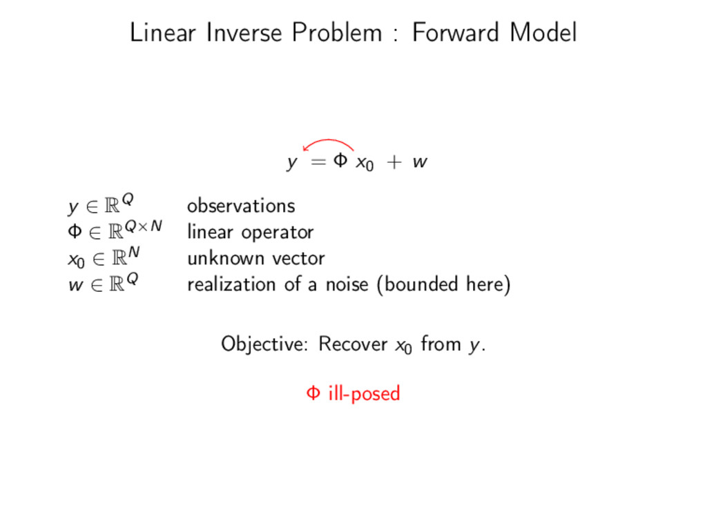 Linear Inverse Problem : Forward Model y = Φ x0...