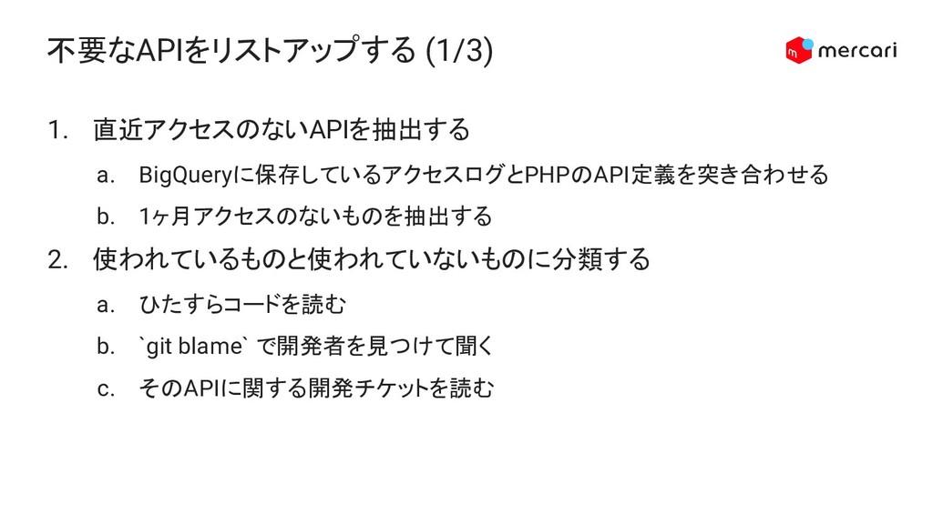 不要なAPIをリストアップする (1/3) 1. 直近アクセスのないAPIを抽出する a. B...