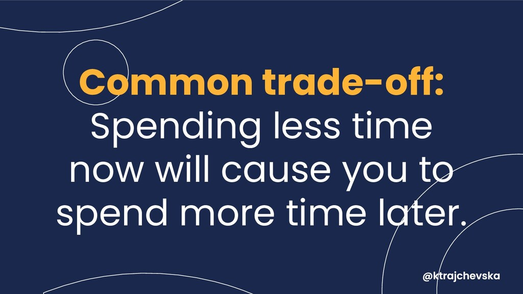 Common trade-off: Spending less time now will c...