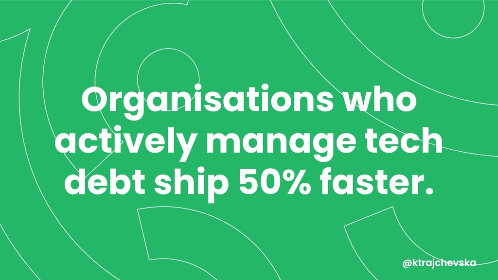 Organisations who actively manage tech debt shi...