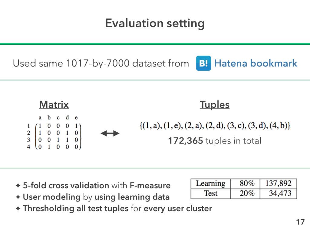 Evaluation setting 17 Matrix Tuples Used same 1...