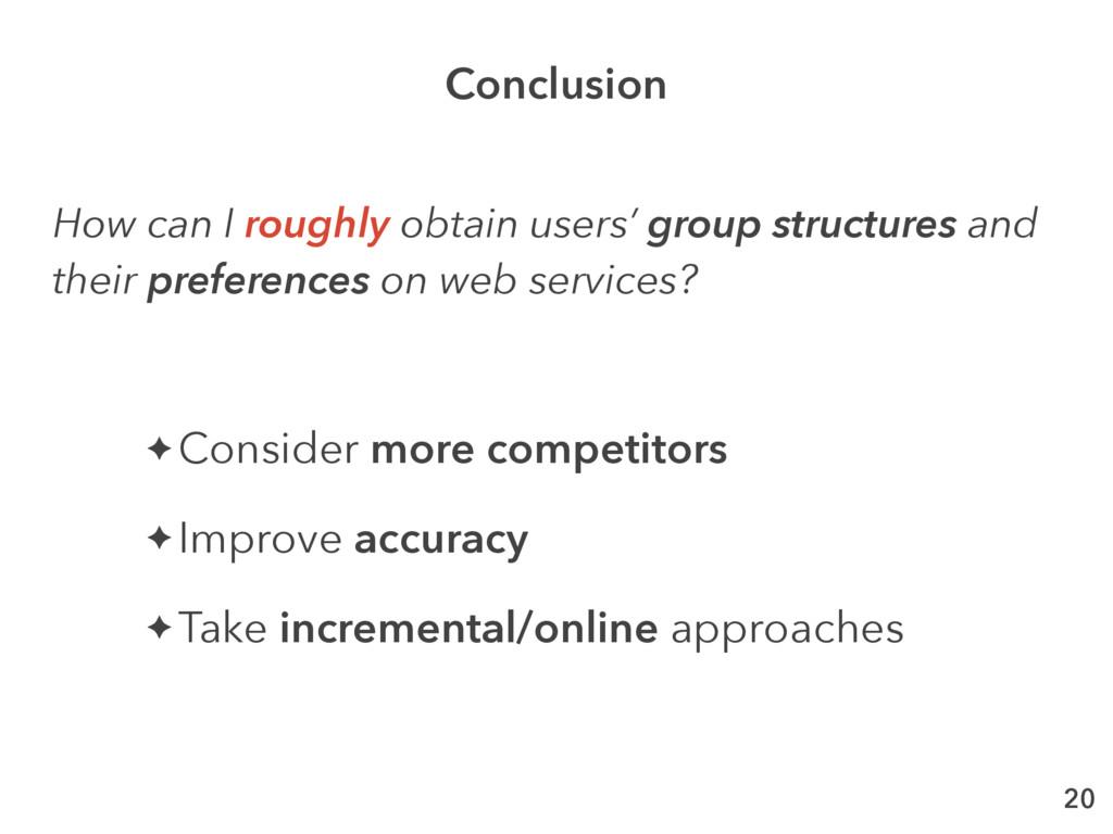20 ✦ Consider more competitors ✦ Improve accura...