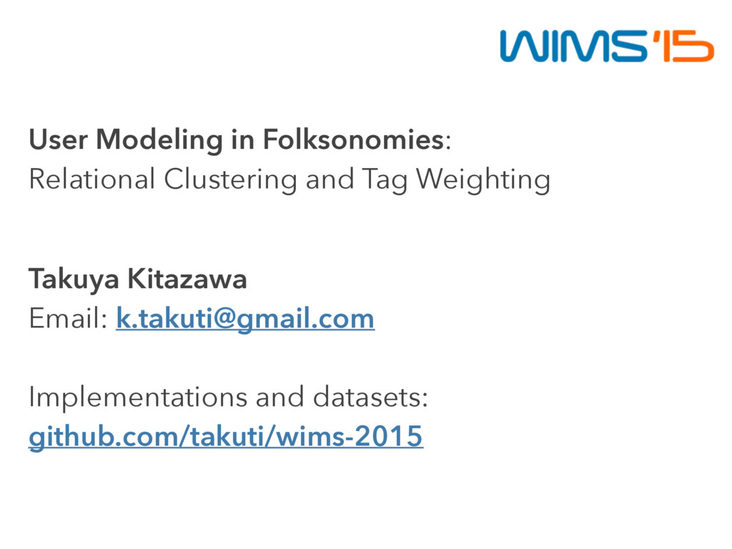 User Modeling in Folksonomies: Relational Clust...