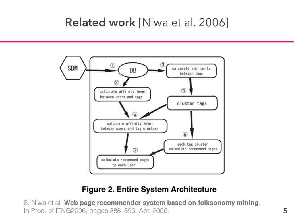 5 Related work [Niwa et al. 2006] S. Niwa et al...