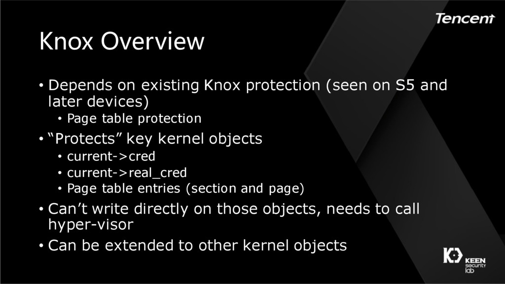 Knox Overview • Depends on existing Knox protec...