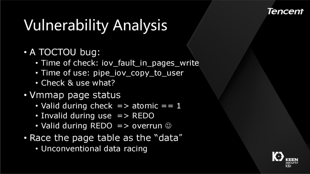 Vulnerability Analysis • A TOCTOU bug: • Time o...