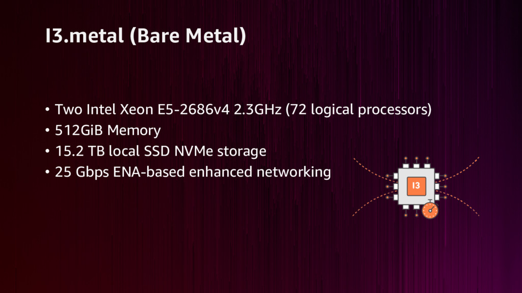 I3.metal (Bare Metal) • Two Intel Xeon E5-2686v...