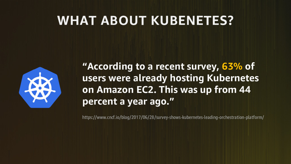 "WHAT ABOUT KUBENETES? ""According to a recent su..."