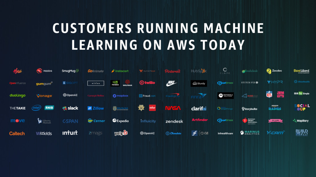 CUSTOMERS RUNNING MACHINE LEARNING ON AWS TODAY