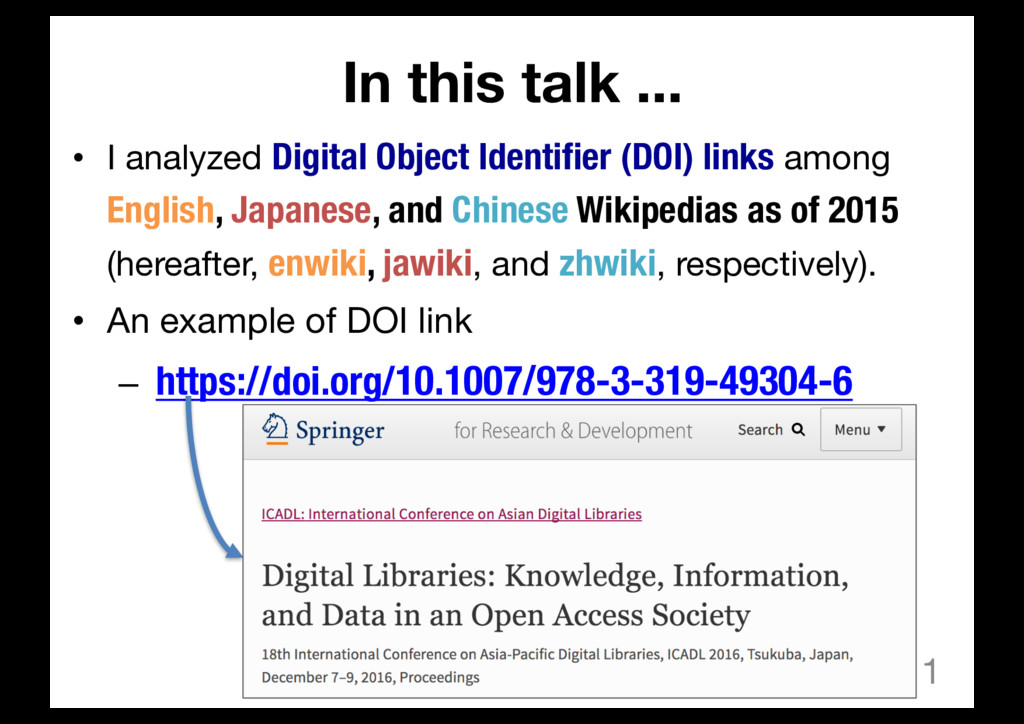 In this talk ... • I analyzed Digital Object Id...