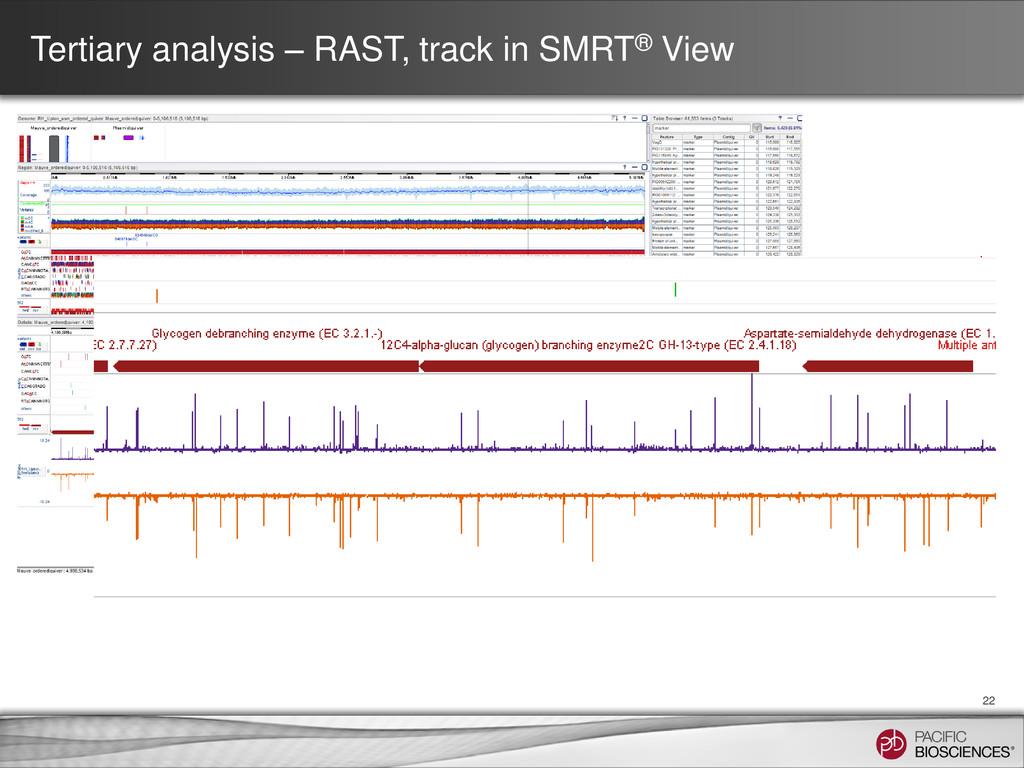 Tertiary analysis – RAST, track in SMRT® View 22