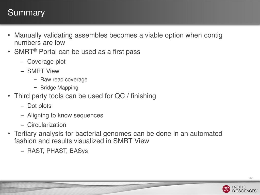 Summary • Manually validating assembles becomes...