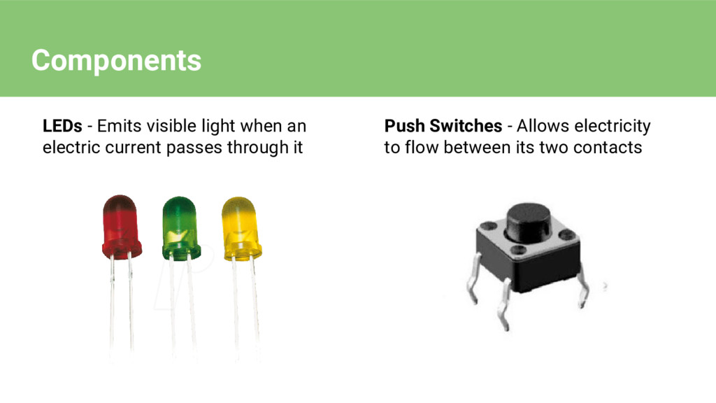 LEDs - Emits visible light when an electric cur...