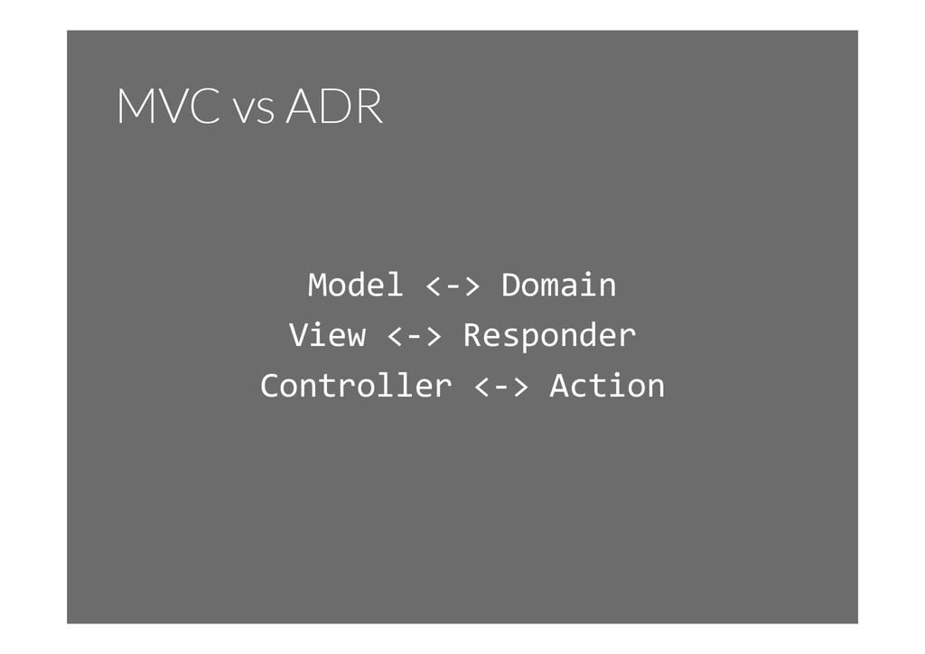 MVC vs ADR Model	