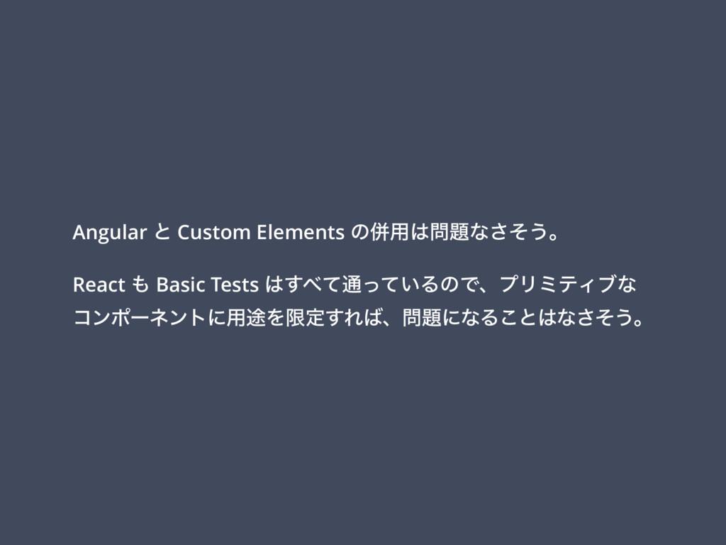 Angular ͱ Custom Elements ͷซ༻ͳͦ͞͏ɻ React  B...