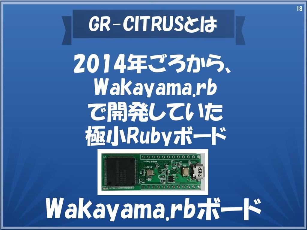 18 GR-CITRUSとは 2014年ごろから、 Wakayama.rb で開発していた 極...