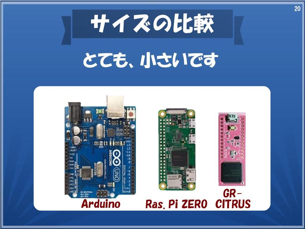 20 サイズの比較 とても、小さいです Arduino Ras. Pi ZERO GR- CI...