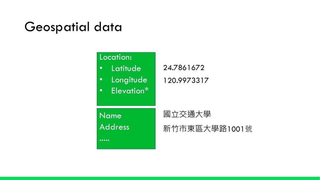 Geospatial data Location: • Latitude • Longitud...