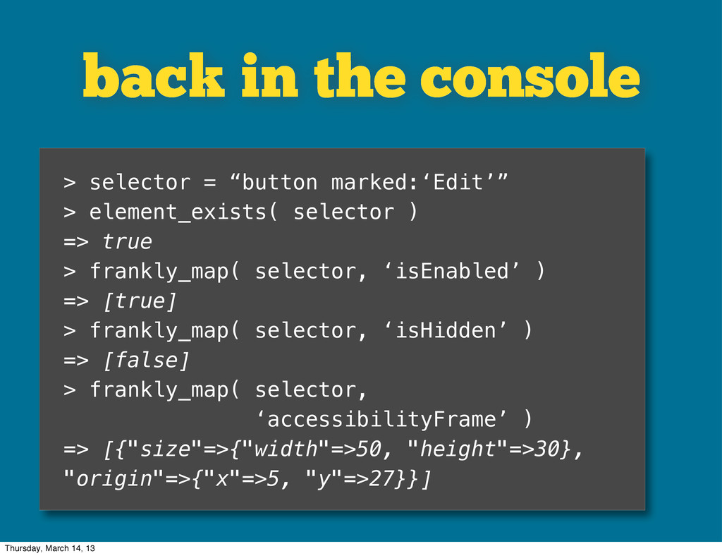 """back in the console > selector = """"button marked..."""