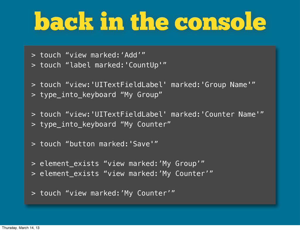 """back in the console > touch """"view marked:'Add'""""..."""