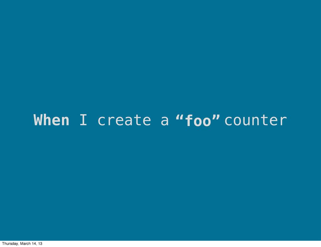 """""""foo"""" When I create a counter Thursday, March 1..."""