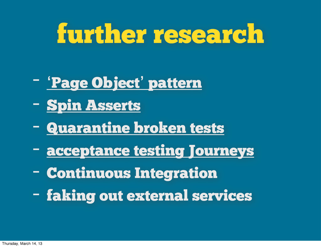 further research - 'Page Object' pattern - Spin...