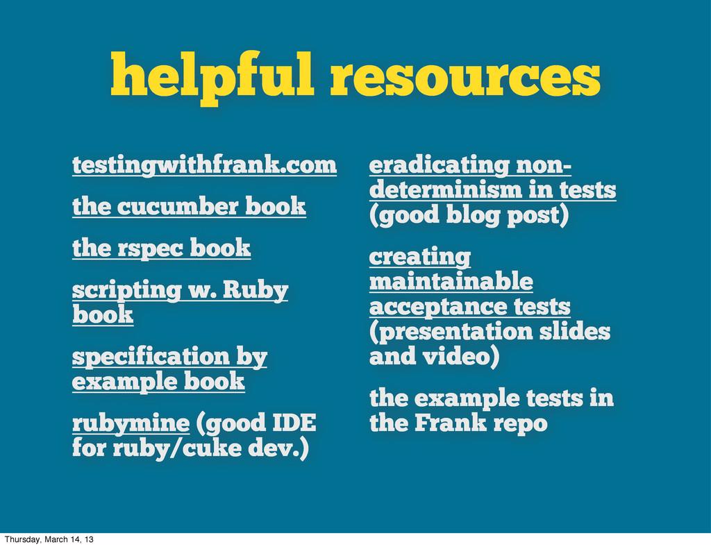 helpful resources testingwithfrank.com the cucu...