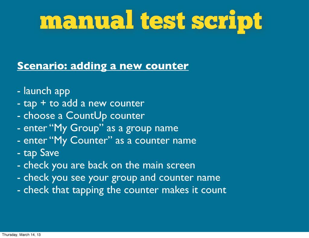 manual test script Scenario: adding a new count...