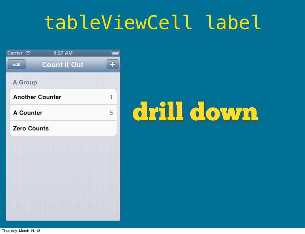tableViewCell label drill down Thursday, March ...