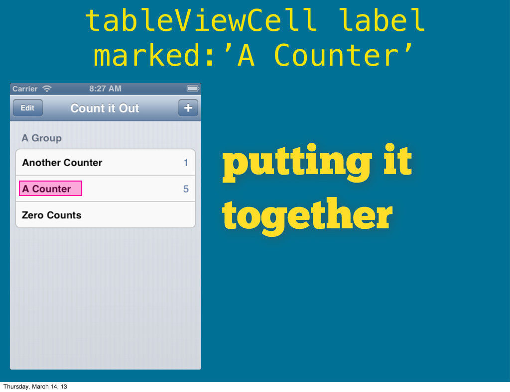 tableViewCell label marked:'A Counter' putting ...