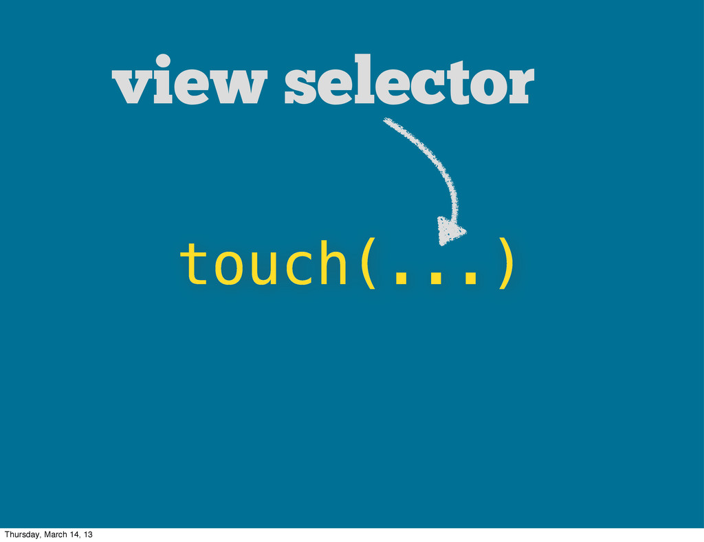 touch(...) view selector Thursday, March 14, 13