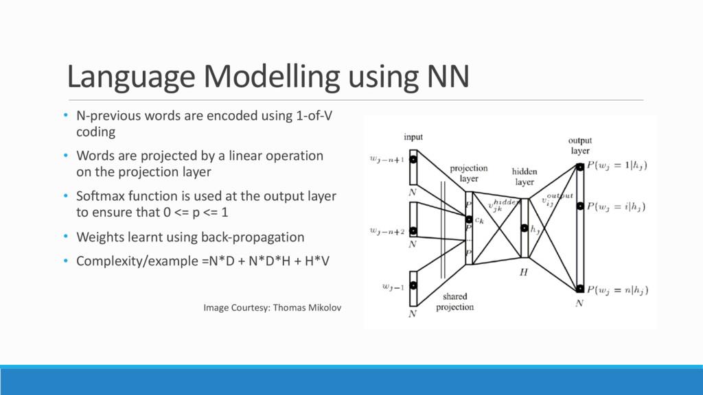 Language Modelling using NN • N-previous words ...